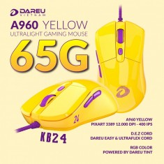 Chuột Gaming DAREU A960 YELLOW - ULTRALIGHT (PixArt PMW3389)