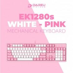 Bàn Phím cơ Dareu EK1280s Pink White (USB/Pink LED/Red switch)